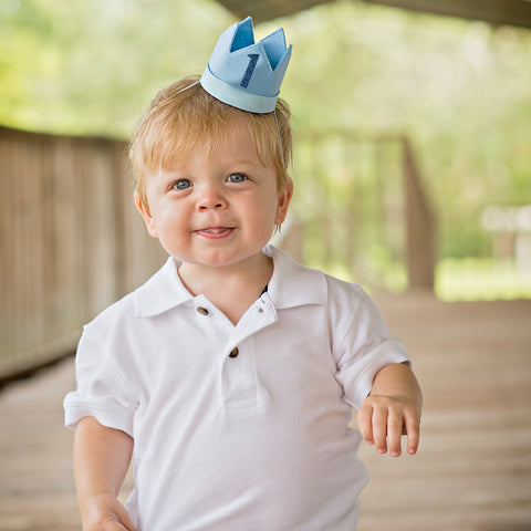 Blue Felt Birthday Crown Headband