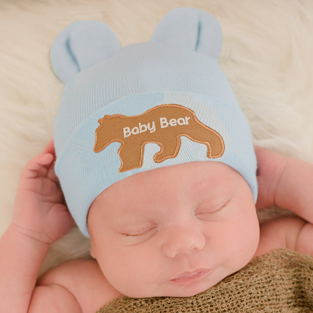 White (or Blue) Baby Bear with Baby Bear Patch Newborn Boy or Girl Hospital Hat - Gender Neutral