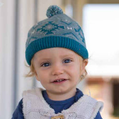 Teal and Soft Blue Pom Pom Baby Boy Beanie  - Fully Cotton Lined icon