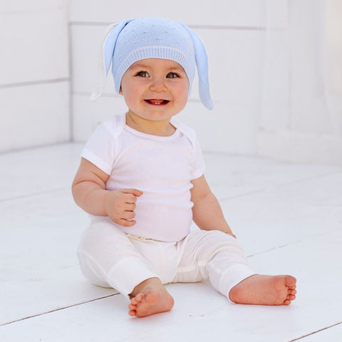 Blue Baby Boy Knit BUNNY RABBIT Hat - Boys Easter Hat - Baby Blue Boys Hat