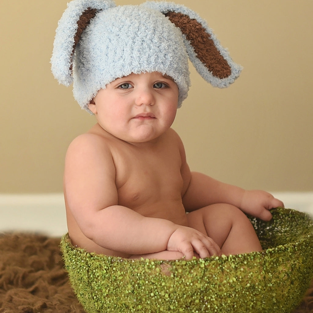 Baby Blue and Brown Bunny Bop Easter Baby Hat
