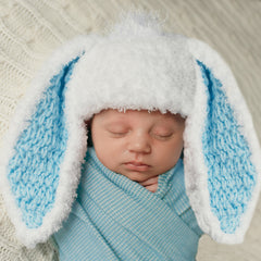 Little Bunny Foo Foo Blue and White Fluffy Bunny Baby Boy Easter Hat icon