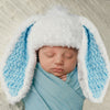 Little Bunny Foo Foo Blue and White Fluffy Bunny Baby Boy Easter Hat