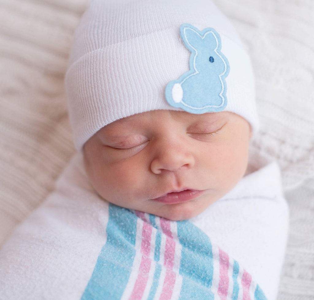 Boy Bunny Patch Newborn Boy Hospital Hat