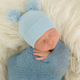 Double Blue Pom Pom Hospital Hat  Newborn Boy Hospital Hat
