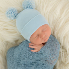 Double Blue Pom Pom Hospital Hat  Newborn Boy Hospital Hat icon