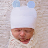 Blue Ears Newborn Boys White Newborn Boy Hospital Hat for Newborns - White Nursery Beanie