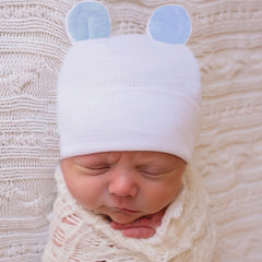 Blue Ears Newborn Boys White Newborn Boy Hospital Hat for Newborns - White Nursery Beanie icon