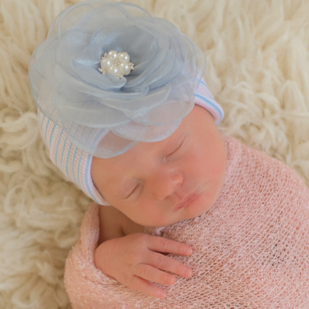 Blue Chiffon Layered Flower with Pearl Center on Traditional Striped Hospital Hat for Newborn Girls