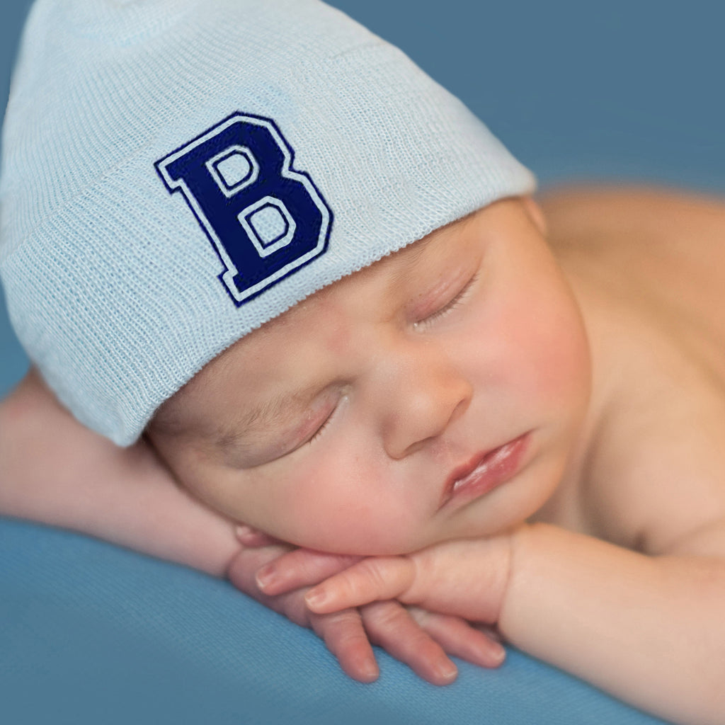 Navy Blue Collegiate Letter Initial Newborn Boy Solid Blue Hospital Hat