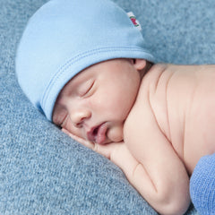 Blue 100% Certified Organic Cotton Baby Beanie - Option for personalization icon