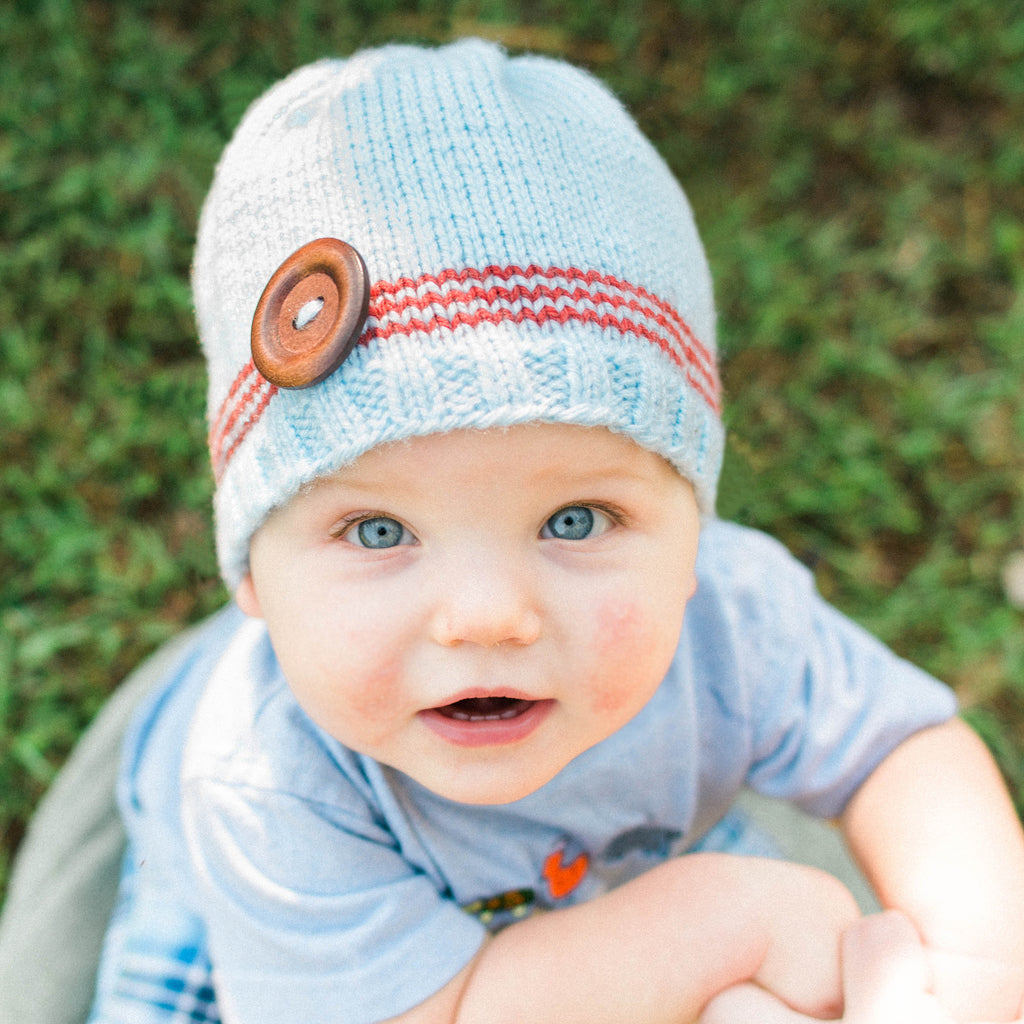 Sky Blue and Rust Striped Baby Boy Beanie with Wooden Button