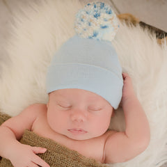 Baby Blue (OR White) Hospital Hat with Mixed Blue and Brown Pom Pom Newborn Boy Hospital Hat icon