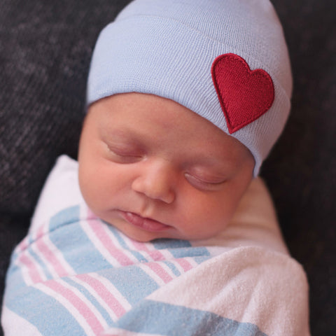 Blue Hat with Red Satin Heart Patch Newborn Boy Hospital Hat