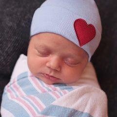 Blue Hat with Red Satin Heart Patch Newborn Boy Hospital Hat icon
