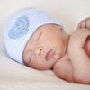 Blue and White Striped Newborn Boy Hospital Hat with Blue Crocheted Heart