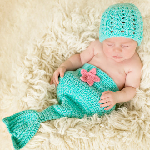 Ocean Blue Mermaid Baby Hat and Diaper Cover Tail Set with Pink Starfish - Photography Prop