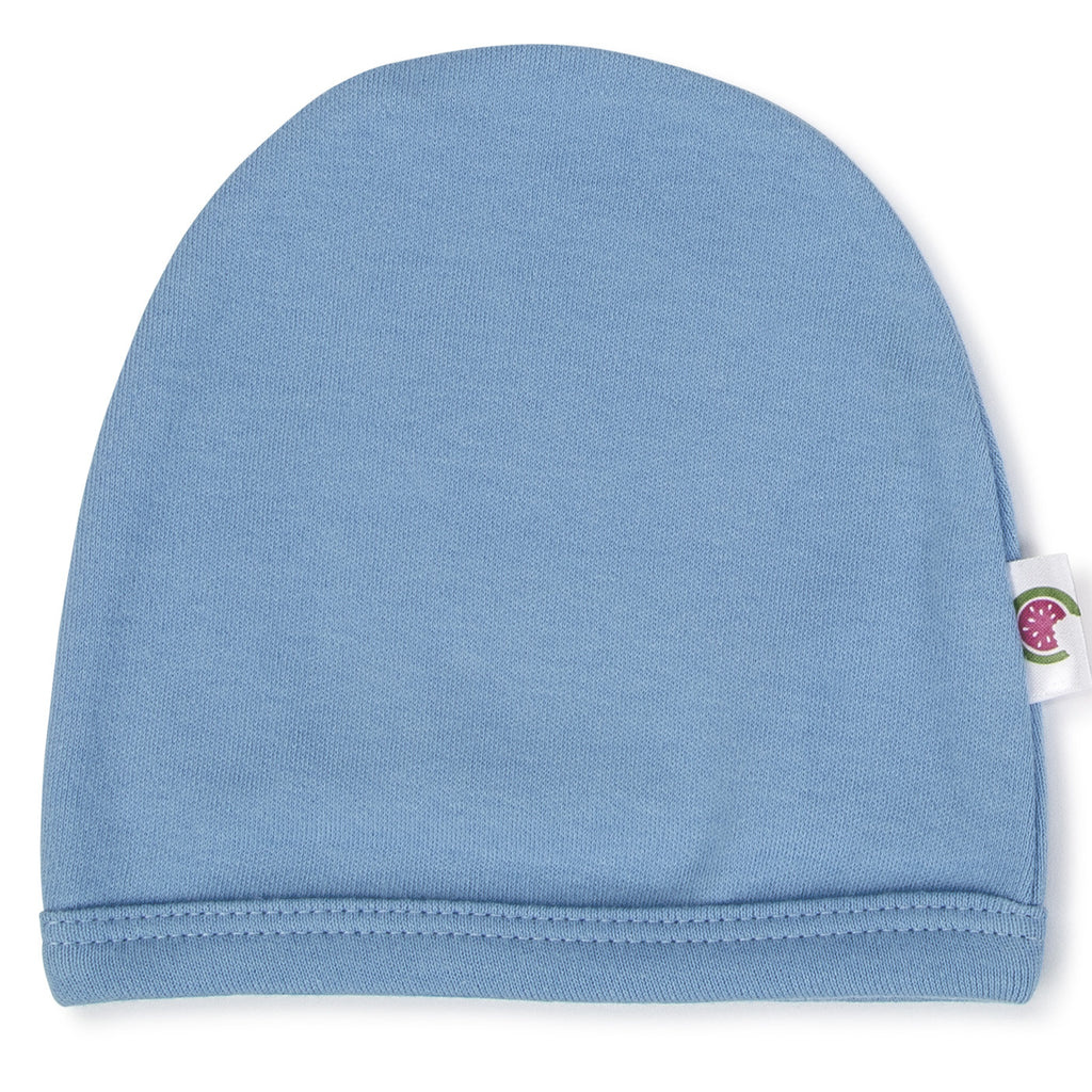 Blue 100% Certified Organic Cotton Baby Beanie - Option for personalization