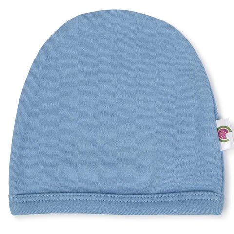 Blue 100% Certified Organic Cotton Baby Beanie - Option for personalisation 8226bf724df