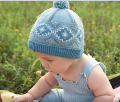 49a90eace13aa6 ... Teal and Soft Blue Pom Pom Baby Boy Beanie - Fully Cotton Lined