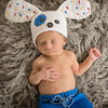 Color Cheer Puppy Dog Floppy Ear Hat and Blue Pants Set for Newborn Boys