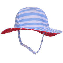 Gender Neutral Sailor Hat- Blue and White Stripes with Red and White Polka Dot Lining- UPF 50 Sun Protection- SWIM HAT icon