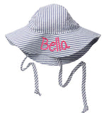 Blue and White Chambray Seersucker Baby Sun Hat -PERSONALIZED Option