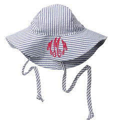 Blue and White Chambray Seersucker Baby Sun Hat -PERSONALIZED Option icon