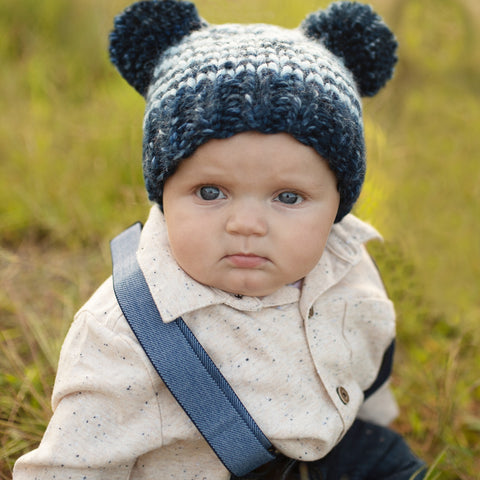 Light and Navy Blue Striped Double Pom Pom KNIT Beanie for Baby Boys  eb7241e018a