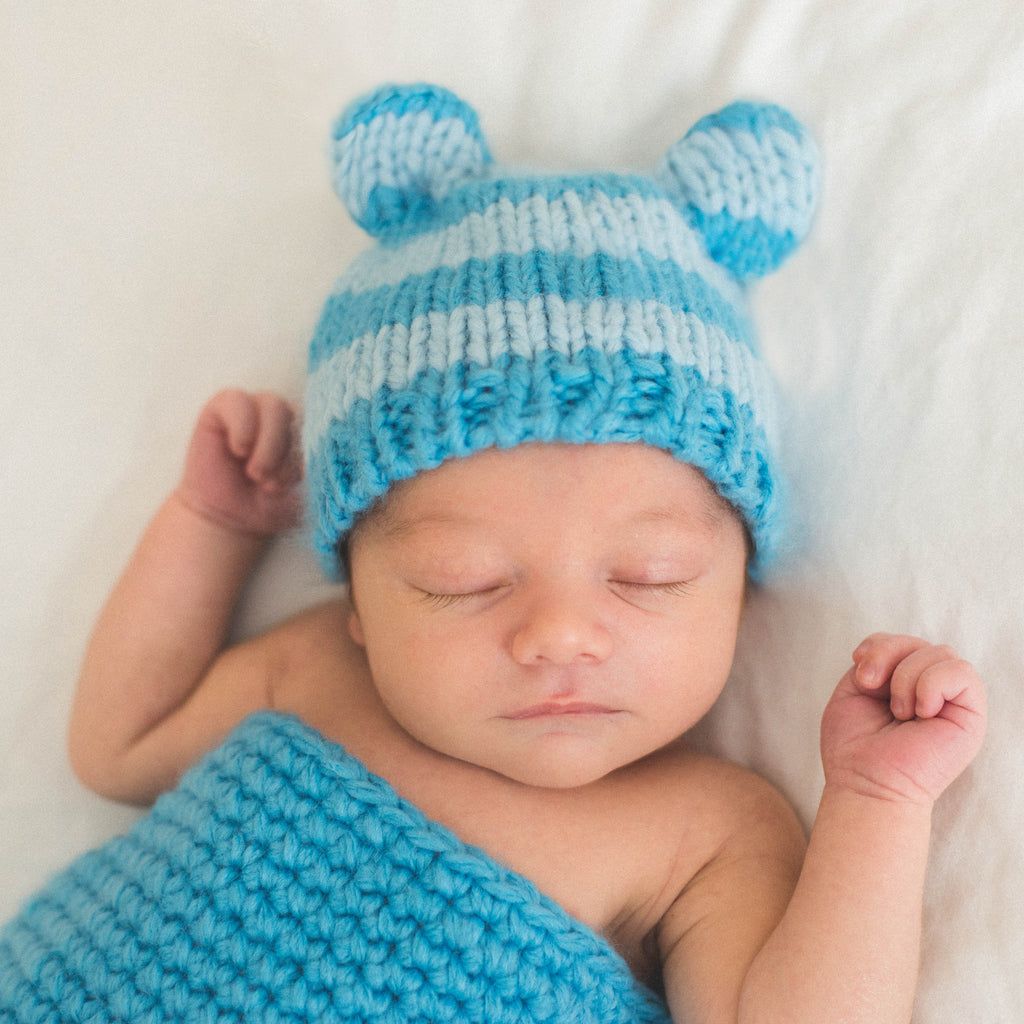 Shades of Blue Striped Blue Baby Boy Bear Hat