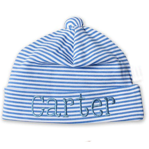 Baby Blue and White Thin Striped Infant and Newborn Beanie