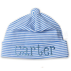 Baby Blue and White Thin Striped Infant and Newborn Beanie icon
