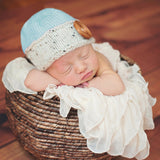 Au Naturale Blue and Beige Baby Boy Beanie with Wooden Button for Baby Boys