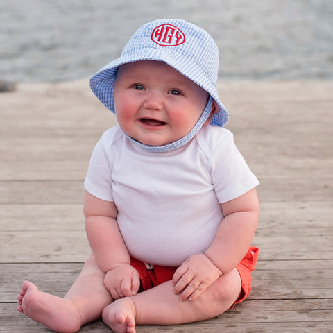 Blue and White Gingham Checked Monogrammed Sun Hat for Baby and Toddler Boys