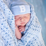 Striped Collegiate Letter Initial Newborn Boy Hospital Hat