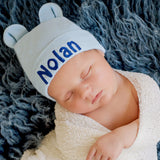 Personalized Baby Bear Blue Newborn Boy Hospital Hat