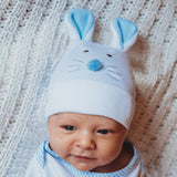 Blue Bunny Face Newborn and Baby Boy Hospital Hat