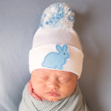 Blue Mixed Pom Pom with Blue Bunny Patch Newborn and Baby Boy Hat