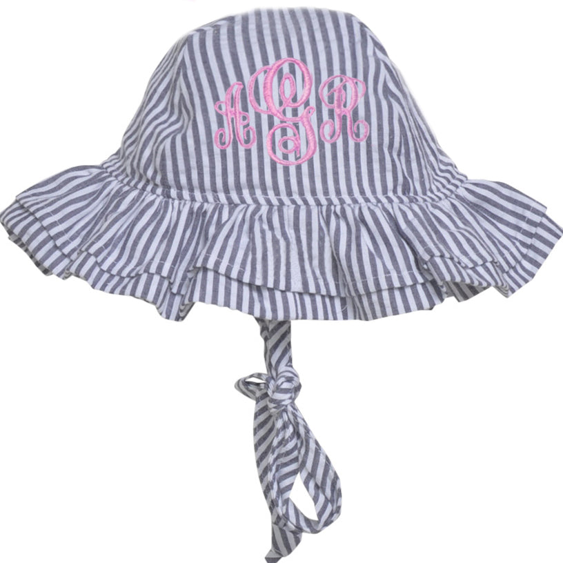 Blue and White Chambray Seersucker Double Ruffle Brim Baby Sun Hat -PERSONALIZED Option