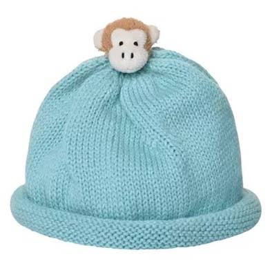 Plush Monkey Topper BlueHat for Babies - Gender Neutral