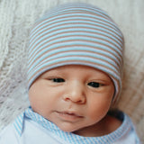 Blue, Tan and White Striped Newborn and Baby Hospital Hat