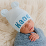 Baby Blue and White Striped Personalized Baby Bear Newborn Boy Hospital Hat