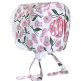 Pink Poppy Flower Baby Bonnet with Eyelet Trim - Option for Monogram