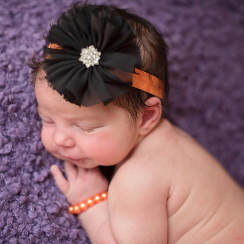 Halloween Orange and Black Frayed Flower Newborn Headband and Bracelet SET