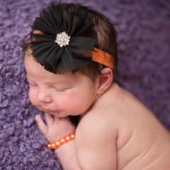 Halloween Orange and Black Frayed Flower Newborn Headband and Bracelet SET icon
