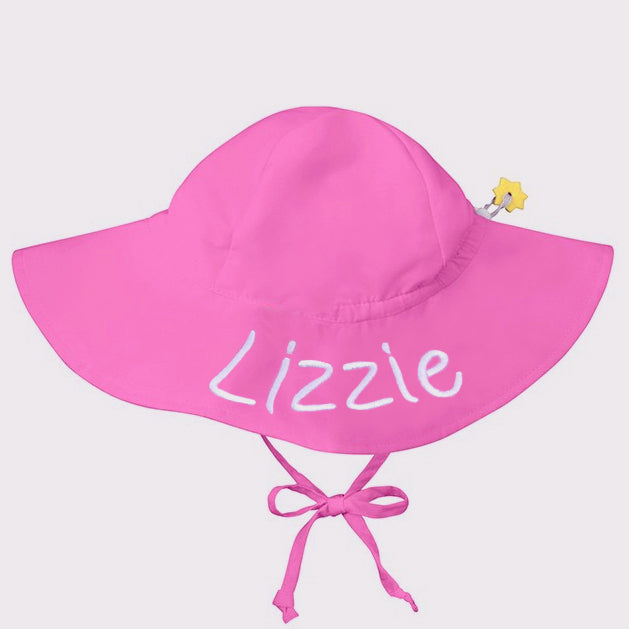 Bright Pink Baby and Toddler Sun Hat with Sun Protection - Personalization Option