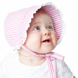 Pink and White Seersucker Girl's Bonnet with Eyelet Trim Baby Bonnet - monogram optional