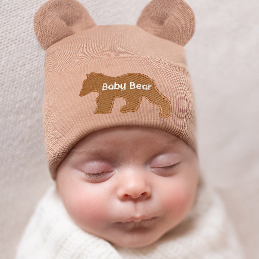 Tan Baby Bear with Baby Bear Patch Newborn Boy or Girl Hospital Hat - Gender Neutral