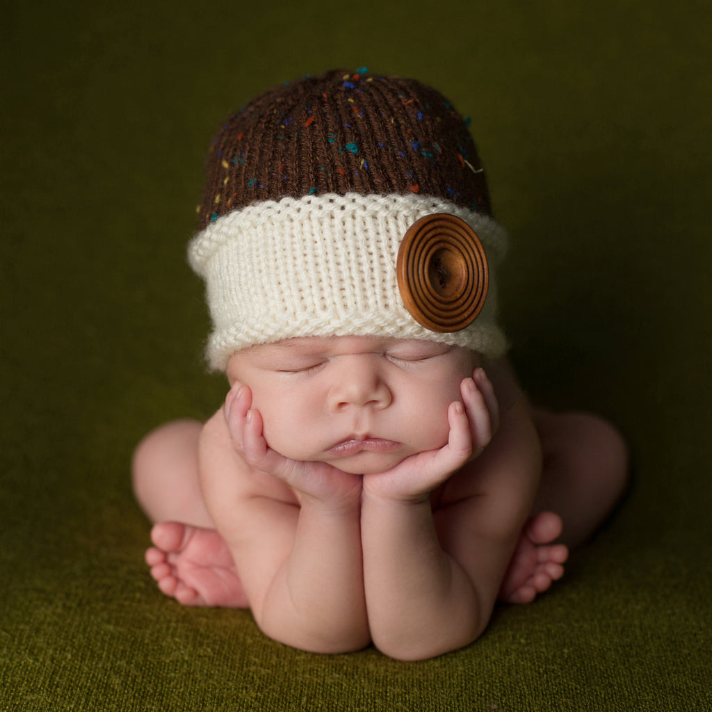 Woodsy Brown Baby Boy Beanie with Cream Brim and Over-sized Wooden Button for Baby Boys