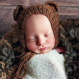Mohair Hand Knit Bear Hat for Photography
